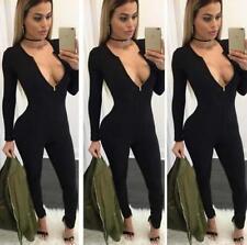 Women Zipper Playsuit Bandage Bodycon Jumpsuit Clubwear