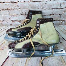 Vintage Mens Ice Skates Nestor Johnson Hi Speed Black Leather Size 8 brown cream