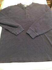 00s LL Bean Thermal Henley Shirt Navy Blue Medium