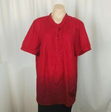 AUTOGRAPH Women's Blouse Top Size 18 Red to Maroon Ombre Short Sleeve Collar