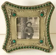 Antique Emerald Green Jeweled E & Jb Empire Art Gold Picture Frame Clock Holder