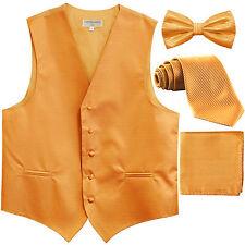 New Men's stripes Tuxedo Vest Waistcoat & necktie & Bow tie & Hankie Gold formal