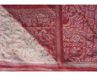 Vintage Heavy Saree Woven Pure Satin Silk Fabric Brocade Banarasi Sari Beige