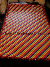 "EX- LONG /LARGE HANDMADE FLEECE TIED THROW / BLANKET 57"" X 74"" RAINBOW STRIPES"