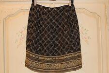 VALERIE STEVENS Flirty Black Taupe Border-Print Bohemian Career Wrap Skirt 14P