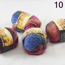 4balls Chunky Colorful Hand Knitting Scores Wool Yarn Burgundy Rust Blue Moss