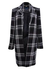 Tommy Hilfiger Women's Open-Front Plaid Coat (2, Black/Ivory/Red)