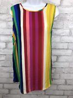 Cynthia Rowley Sleeveless Vibrant Rainbow Stripe Women Blouse. Size Large
