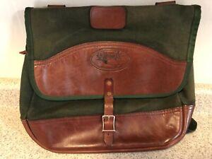JW Hulme Co Green Canvas Leather Messenger Bag Tote