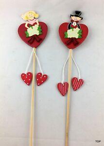 2 Deco Plug Hearts Flower Plug Wood Wedding Bride Groom