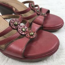 Clarks Red Leather Studded Slip On Wedge Sandal Women's 8.5M Summer Heels 89045