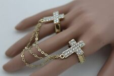 Women Double Rings Gold Metal Chains Fashion Elastic Band 2 Fingers Cross Charms