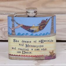 CURLY GIRL Hip flask She dreams of mermaids Metal Gift New