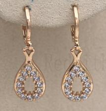 Topaz Zircon Gemstone Dangle Party Earrings 18K Gold Filled - Hollow Waterdrop
