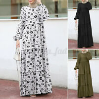 Womens Long Sleeve Floral Printed Layered Casual Kaftan Muslim Abaya Maxi Dress