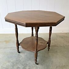 ANTIQUE Victorian / Edwardian Octagonal Mahogany Occasional Side Table Castors