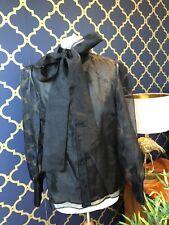 ZARA Black Organza Blouse With Bow Size SMALL BNWT