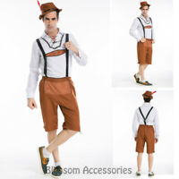 K218 Mens Bavarian Guy German Lederhosen Beer Oktoberfest Fancy Dress Costume