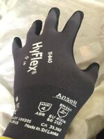 3 pair Ansell HyFlex 11-840 Foam Nitrile Gloves Size 8