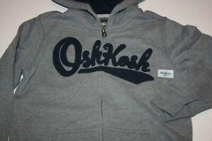 NEW OshKosh Boys Heritage Navy Logo Hoodie Gray 7 8 10 12 14 year Sweatshirt