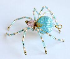 Light Blue Beaded Spider - Ornament / Christmas Tree Decoration