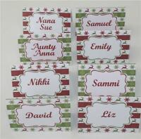 8 x Personalised Christmas Name Place Cards - Red Green Freestanding Christmas G
