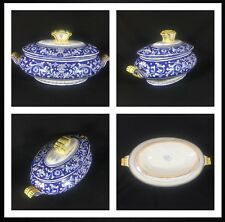 Pre-owned Cama Deruta Antico Italian Hand Painted Blue Floral Large Soup Tureen