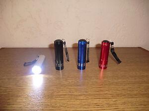 9er LED Aluminium Taschenlampe in 4 versch. Farben wählbar inkl. Batterien NEU