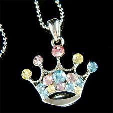 RAINBOW w Swarovski Crystal Princess CROWN hat Chain Charm Pendant Necklace Xmas