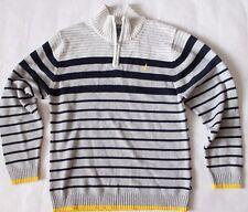 Nautica Boy's 1/2 zip Mock Neck Sweater Gray Pullover Striped Cotton Size Xl