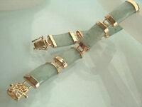 Natural Real Light Green Jade 18KGP Fortune Link Clasp Bangle Bracelet
