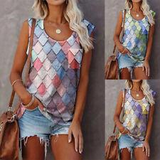 Women Printing Summer Vest Sleeveless T-shirt Ladies Casual Tank Tops Blouse
