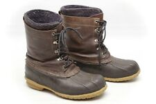 LL Bean Mens Maine Hungting Shoe Boots 9 Rubber Leather Insulated Brown USA