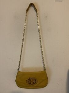Tory Burch Womens Yelllow Crossbody Leather Envelope Bag