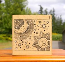 Sun Moon & Stars Sky Solar Lunar Wood Mounted Rubber Stamp by Comotion #2465