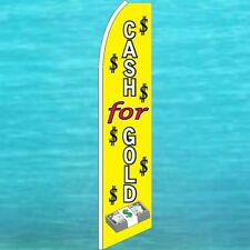 Cash For Gold Flutter Flag Tall Curved Advertising Sign Feather Swooper Banner