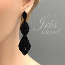 Black Alloy Jet Crystal Rhinestone Wedding Chandelier Drop Dangle Earrings 01277