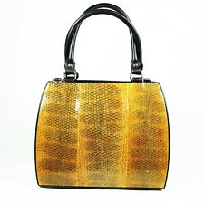 Orange Genuine Leather Sea Snake Skin Women Cross body Shoulder Handbag Satchel.