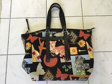 SALVATORE FERRAGAMO black Animal Print Tote Handbag Purse RARE and largest  one. 8b127a8cf7201
