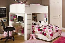 White 4 Piece Loft Twin Bunk Bed Desk Set Home Living Bedroom Kids Furniture