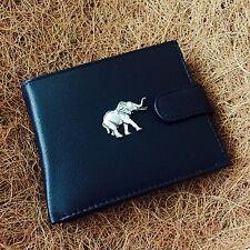 Antique Pewter Elephant Emblem on a Genuine Cow Hide Leather Money Wallet
