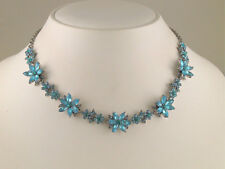 Aqumarine Color Navette Crystal Necklace Earrings s0677