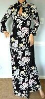 Diane von Furstenberg DVF China Vine Black Floral Abigail Maxi Long Wrap Dress 4