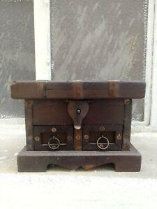 Antica Scatola Vecchia Scatola Cofanetto Portagioie Legno Grosso Stile Medievale