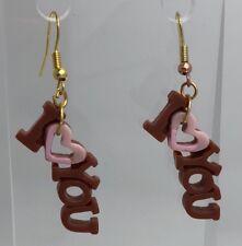Brown Pink I Love You Heart Earrings Pastel Plastic Resin H032 5cm Long Hooks