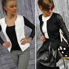 Women's PU Leather Motorcycle Biker Coat Zipper Slim Short Jacket Tops Outwear