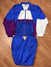 VTG 90s NIKE FULL WINDBREAKER COLORBLOCK TRACKSUIT Royal Blue Purple White M