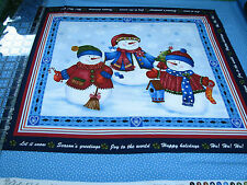2.6 Yards Quilt Cotton Fabric - Benartex Winter Wishes Snowman Pillow Panel