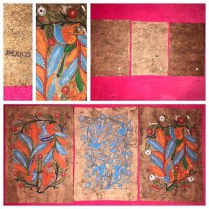 Lot (3) Vintage! Hand Painted Amate Bark Paintings Folk Art Birds/Flowers Mexico