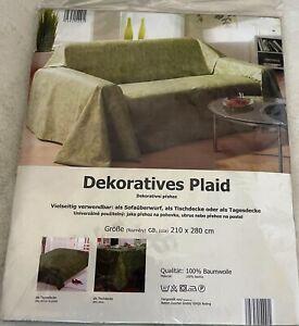 Stoff 210x280 Baumwolle Plaid Tischdecke Überwurf Tagesdecke grün